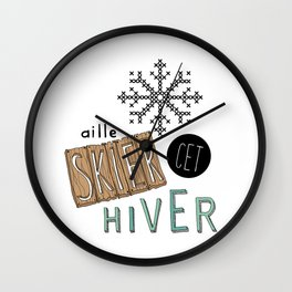 Flocon aille skier cet hiver Wall Clock