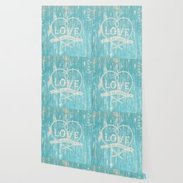Maritime Design - Love is my anchor on teal grunge wood background Wallpaper