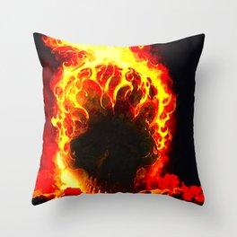 The Fire Burning Skull Throw Pillow