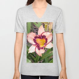 Pink daylily growing in Queensland Unisex V-Neck