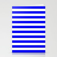 stripes Stationery Cards featuring Horizontal Stripes (Blue/White) by 10813 Apparel