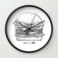 burger Wall Clocks featuring Burger by Les Très Tresses