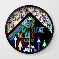 scripture Wall Clocks featuring RISE UP TAKE COURAGE AND DO IT Colorful Geometric Floral Abstract Painting Christian Bible Scripture by The Faithful Canvas