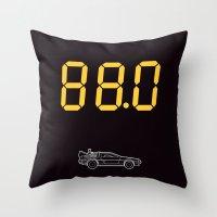 delorean Throw Pillows featuring DeLorean by Adikt
