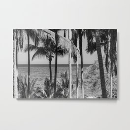 B&W Palm Trees Metal Print