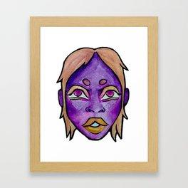 Purple Girl Watercolor Framed Art Print