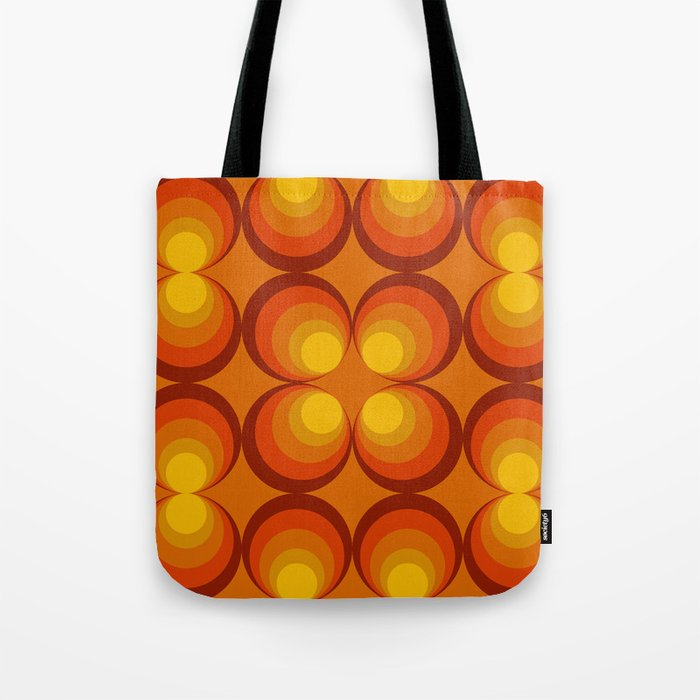 70s Circle Design Orange Background Tote Bag