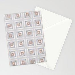 Modern Life Pattern Blue Grey Rust Stationery Cards