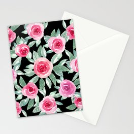 Soft Pink Roses in black_ Beautiful watercolor Bouquet  Stationery Cards