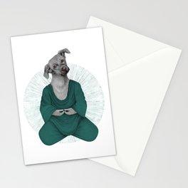 Almost meditating dog 3 Stationery Cards