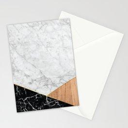 White Marble - Black Granite & Wood #711 Stationery Cards