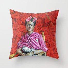 Frida Kahlo with Poinsettias Throw Pillow