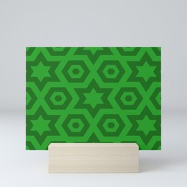 Modern Abstract Geometric Stars - Green - Matching Set 2 of 2 Mini Art Print