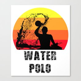 Water Polo Player Gift | Retro Vintage Sun Design Canvas Print