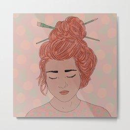 Artsy, Art Girl Illustration, Hair in a Bun, Paint Brushes, Art Print Metal Print