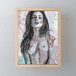 Nothing Violates This Nature (erotic drawing, nude butterfly girl) Framed Mini Art Print