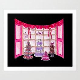 Inside The Cake Shop (on black) Art Print