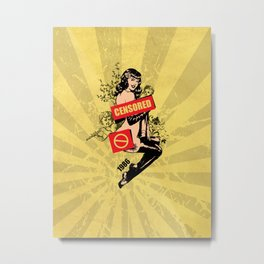 A Censored Sexy Woman Vintage Graphic Metal Print