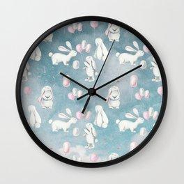Bunnies Bunny in heaven-Cute Animal illustration pattern Wall Clock