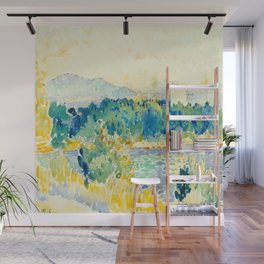 Mediterranean Landscape With a White House Watercolor Landscape Painting Wall Mural