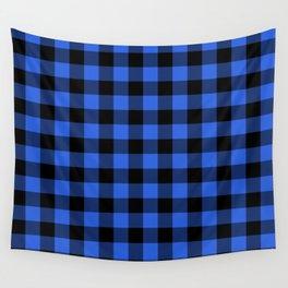 Royal Blue and Black Lumberjack Buffalo Plaid Fabric Wall Tapestry
