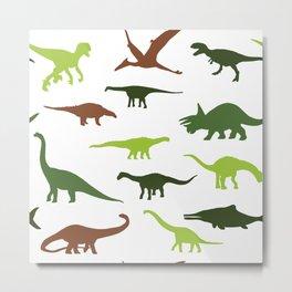 Green dinosaurus pattern Metal Print