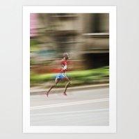 runner Art Prints featuring Runner  by Gabriel  Espinosa