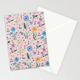 Spring Garden Tossed Pattern Stationery Cards