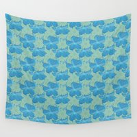 scuba Wall Tapestries featuring Scuba Blue and Lucite Green Watercolor Floral by Covered By Design