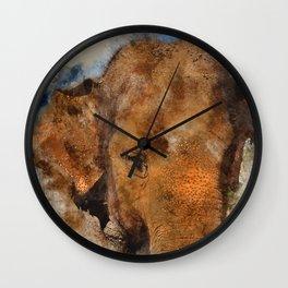 Elephant Watercolour Wall Clock