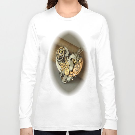 Steampunk Heart of Gold and Silver Long Sleeve T-shirt