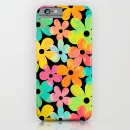 Hawaiian Holiday - Bright Textured Flowers on Black (pattern) iPhone Case
