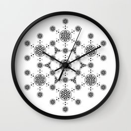 molecule. alien crop circle. flower of life and celtic patterns Wall Clock
