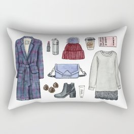 fashion. winter outfit Rectangular Pillow