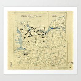 June 6 1944 D-Day World War II Twelfth Army Group Situation Map Art Print