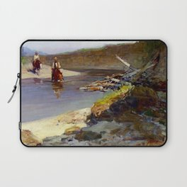"""""""Crossing the Snowy River"""" by Frank Tenney Johnson Laptop Sleeve"""