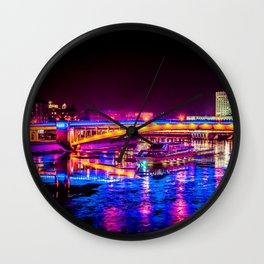 Fantastic, Breathtaking River Cruise At Winter Night Wall Clock
