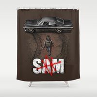 sam winchester Shower Curtains featuring Sam by Six Eyed Monster