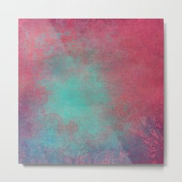Grunge Garden Canvas Texture:  Pink and Turquoise Ornate Metal Print