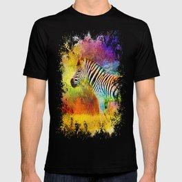 Jazzy Zebra Colorful Animal Art by Jai Johnson T-shirt
