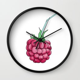 red raspberries with a cocktail straw . illustration Wall Clock