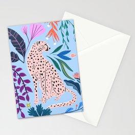Blush pink Cheetah in jungle florals / jungle cat print /modern art Stationery Cards