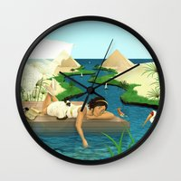 egypt Wall Clocks featuring Egypt by Betty S