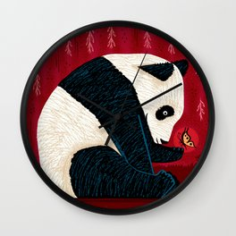 The Panda and the Butterfly Wall Clock