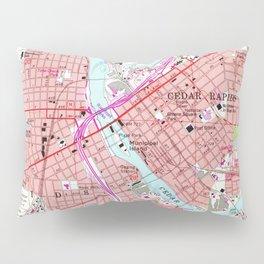 Vintage Map of Cedar Rapids Iowa (1967) Pillow Sham