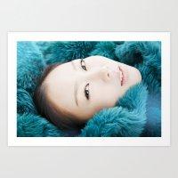korean Art Prints featuring korean beauty by pinkushootyou