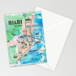 Miami Florida Fine Art Print Retro Vintage Map with Touristic Highlights Stationery Cards
