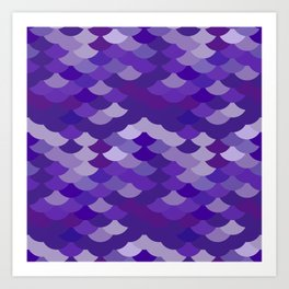Ultra Violet wave, abstract simple background with japanese seigaiha circle pattern Art Print
