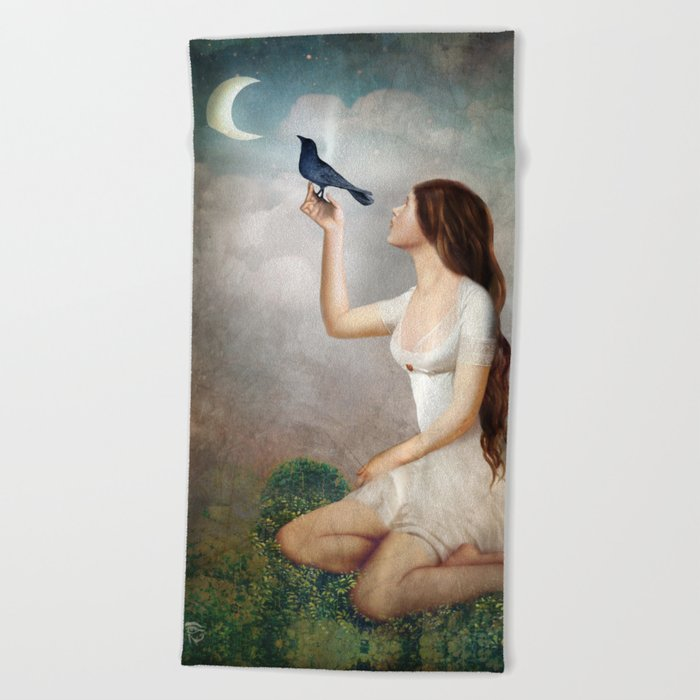 The Moon Asked The Crow Beach Towel