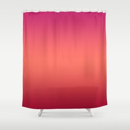 Living Coral Pink Peacock Jester Red Gradient Ombre Pattern Shower Curtain
